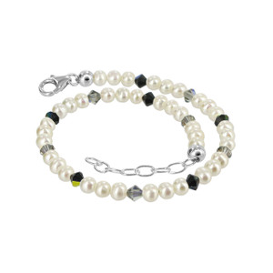Freshwater Pearl with Vitrail Swarovski Elements Crystal Anklet
