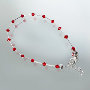3mm Red Bicone Swarovski Elements Crystal 8.5 to 10 inch Sterling Silver Adjustable Anklet Ankle Bracelets