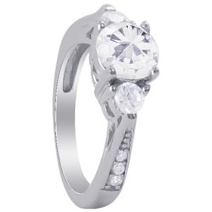 925 Silver Round CZ & accents Engagement Wedding Ring Set