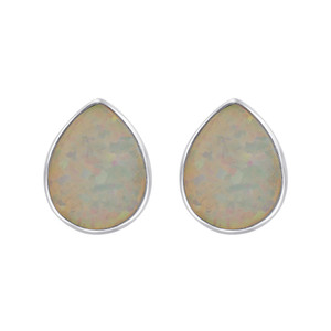 October Birthstone White Created Opal Sterling Silver Pear Shape Stud Earrings