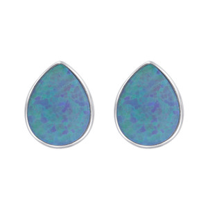 October Birthstone Blue Created Opal Sterling Silver Pear Shape Stud Earrings