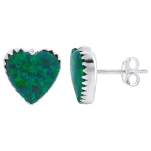 October Birthstone Created Green Opal 925 Silver Heart Stud Earrings