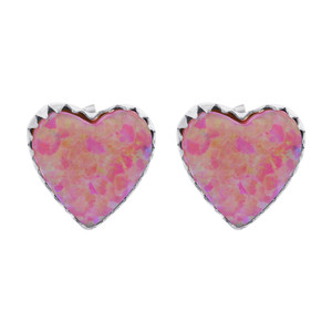 Pink Created Opal 925 Silver Heart Stud Earrings