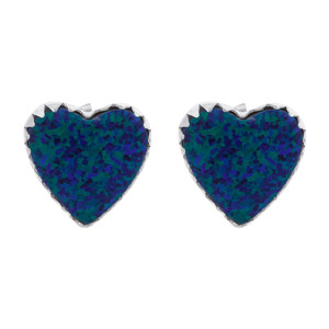 October Birthstone Created Opal Sterling Silver Heart Stud Earrings