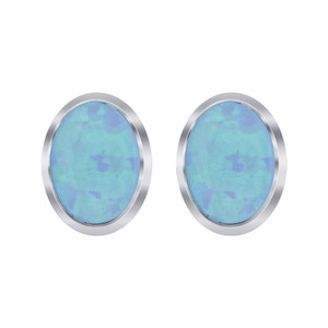 October Birthstone Blue Created Opal Sterling Silver Oval Stud Earrings