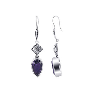 Sterling Silver Bali design February Amethyst Birthstone Drop Earrings