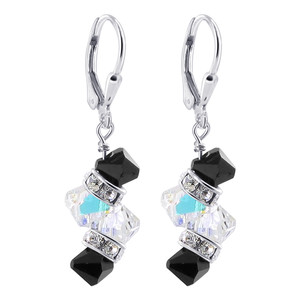 Made with Swarovski Elements Clear & Black Crystal Sterling Silver Drop Earrings