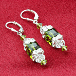 925 Silver Olive Green Cube Crystal Drop Earrings
