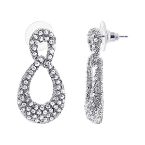 Silver Tone Teardrop Rhinestones Drop Earrings