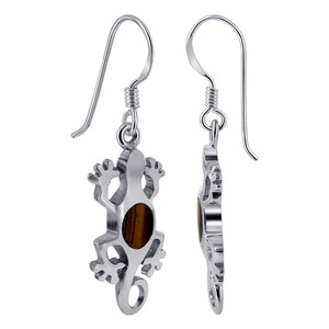 Oval Tiger Eye Lizard French Hook Drop Earrings