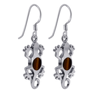 925 Silver Oval Tiger Eye Lizard Drop Earrings