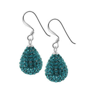 925 Silver Teardrop Blue Crystal Studded Dangle Earrings