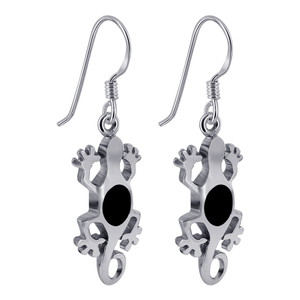 Sterling Silver Black Onyx Lizard Earrings