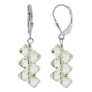 Made with Swarovski Elements Yellow Crystal Silver Earrings