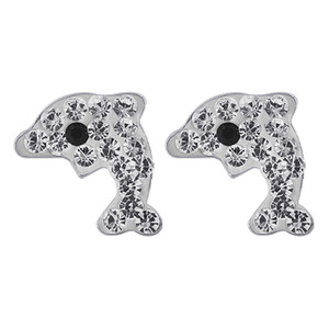 Sterling Silver Clear Dolphin with Black Eye Post Back Stud Crystal Earrings