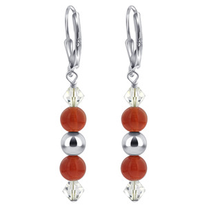 Made with Swarovski Elements Crystal Sterling Silver Leverback Drop Earrings