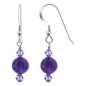 Purple Beads with Crystal 925 Silver Drop Earrings