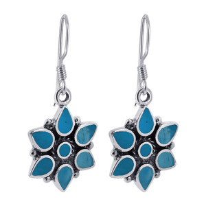 Flower Turquoise Gemstone Drop Earrings