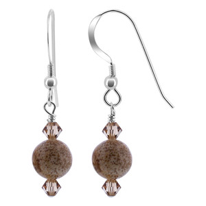 Crystal Jasper Gemstone 925 Silver Drop Earrings