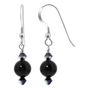 Swarovski Elements Crystal Black Onyx Gemstone Sterling Silver Drop Earrings