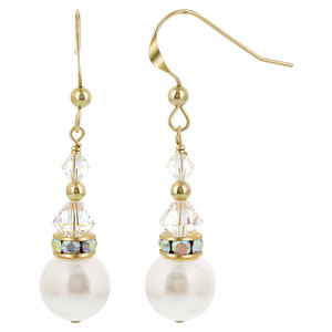 Gold filled White Pearl Clear Crystal French Wire Drop Earrings