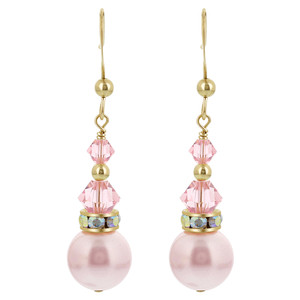 Pink Crystal French Wire Drop Earrings