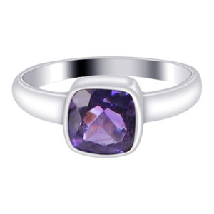 925 Silver Amethyst February Birthstone 2mm Ring
