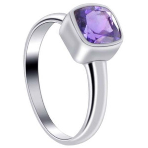 925 Sterling Silver Polished Finish Square Amethyst Gemstone 2mm Ring