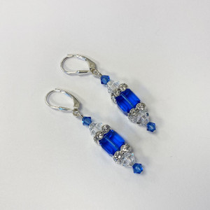 Blue Cube Swarovski Elements Crystal Sterling Silver Drop Earrings