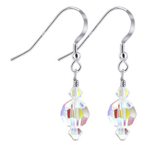 Clear Crystal 925 Silver Drop Earrings