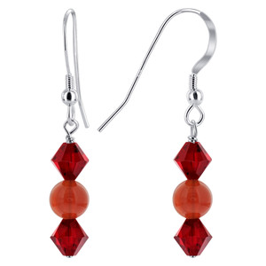 Bicone Crystal Carnelian Bead 925 Silver Drop Earrings