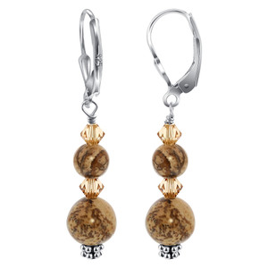 Picture Jasper Gemstone 925 Silver Drop Earrings