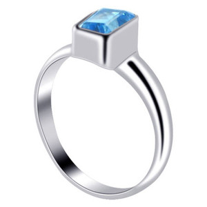 925 Sterling Silver Rectangular Blue Topaz Gemstone 3mm Ring