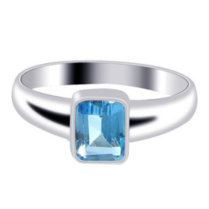 Blue Topaz December Birthstone 925 Silver Ring