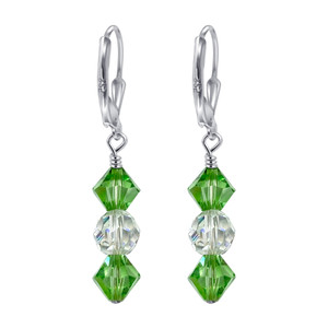 Green and Clear Crystal 925 Silver Drop Earrings