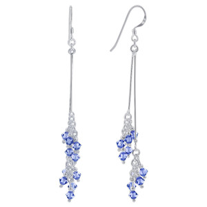Blue Swarovski Elements Crystal 925 Silver Dangle Earrings