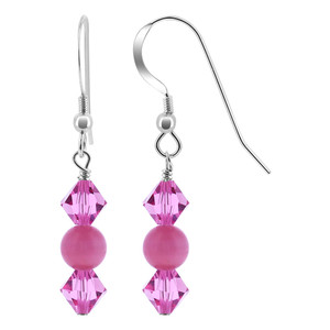 Sterling Silver Pink Cats Eye Bead Drop Earrings