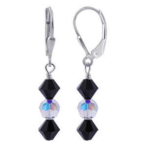 Black and Clear Crystal Sterling Silver Drop Earrings