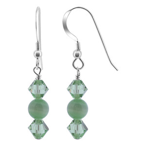 Sterling Silver Green Cats Eye Bead Drop Earrings