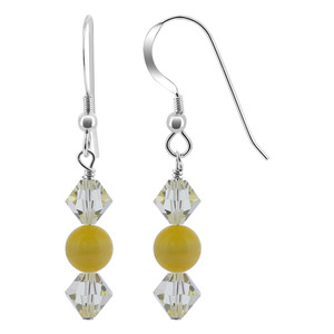 Swarovski Elements Bicone Crystal Yellow Cats Eye Bead Sterling Silver Drop Earrings