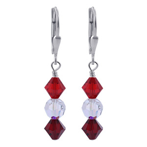 Red and Clear AB Crystal Sterling Silver Drop Earrings