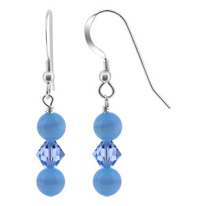 Crystal Blue Cats Eye Beads 925 Silver Drop Earrings