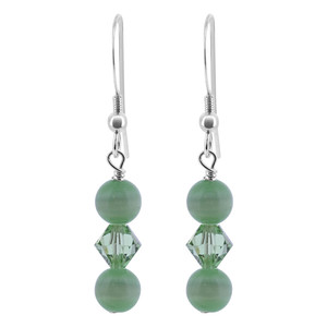 Green Cats Eye Beads Sterling Silver Drop Earrings