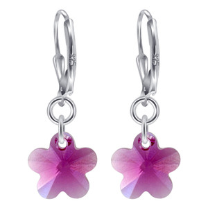 Swarovski Elements Crystal  Fuchsia Flower Silver Drop Earrings