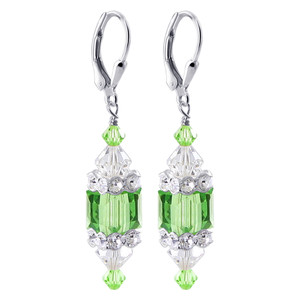 Green Cube Crystal Sterling Silver Drop Earrings