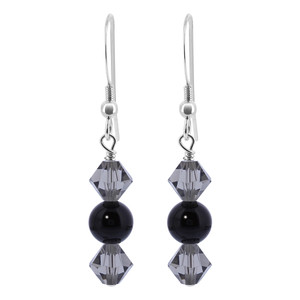 Black Onyx Beads Sterling Silver Drop Earrings