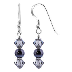 Hematite Bead with Black Crystal Sterling Silver Drop Earrings