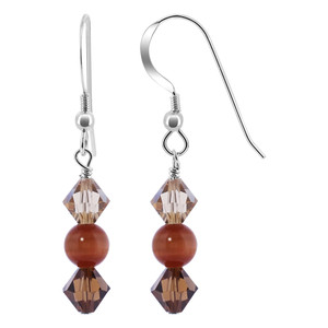 Bicone Crystal Brown Cats Eye Bead 925 Silver Drop Earrings