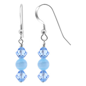 Bicone Crystal Blue Cats Eye Bead 925 Silver Drop Earrings