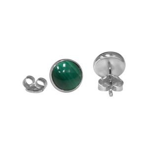 Simulated Malachite 925 Silver Stud Earrings